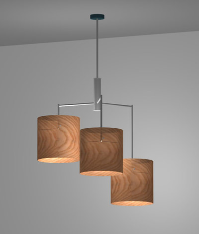 Wooden pendant shades by Trish Odenthal